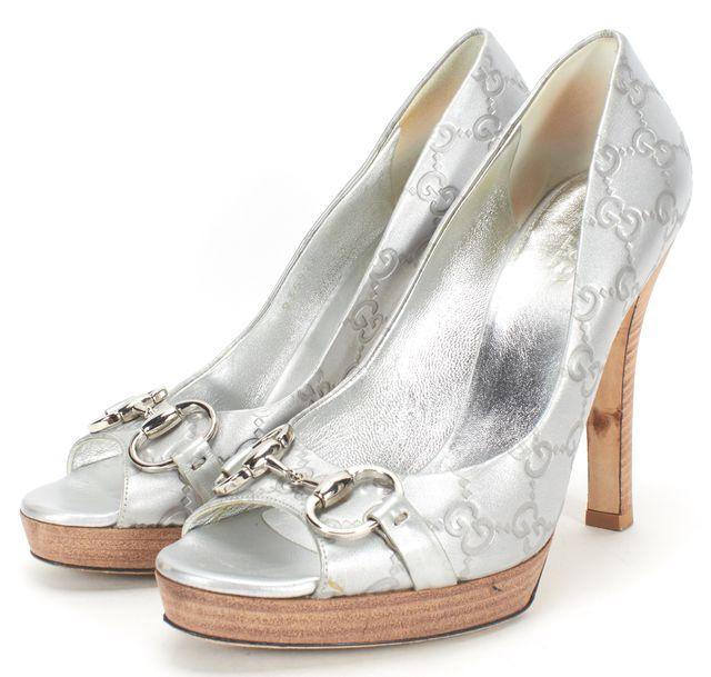 GUCCI Silver Horsebit GG Leather Peeptoe Stacked Heel