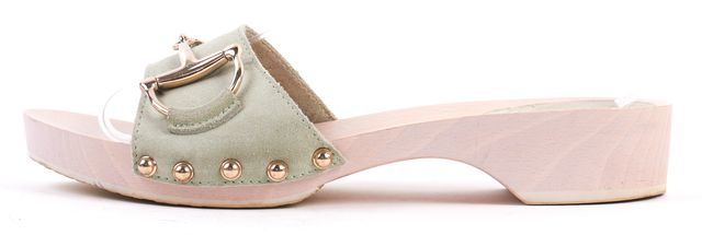 GUCCI Light Green Pink Suede Wood Clogs Sandals