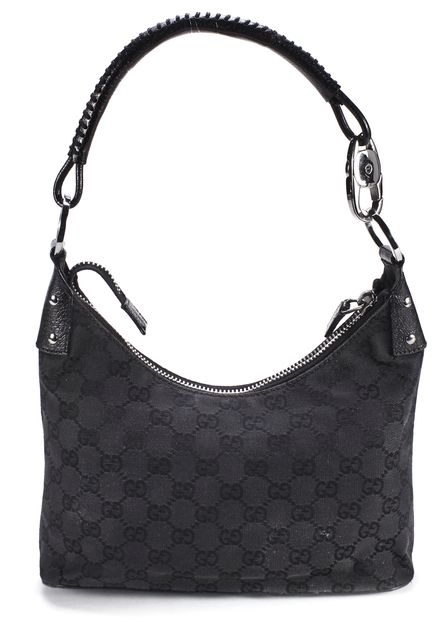 GUCCI Black GG Monogram Canvas Shoulder Bag
