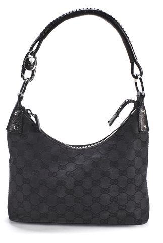 GUCCI Black GG Monogram Canvas Shoulder Bag