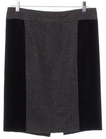 GUCCI Gray Black Colorblock Wool Straight Skirt