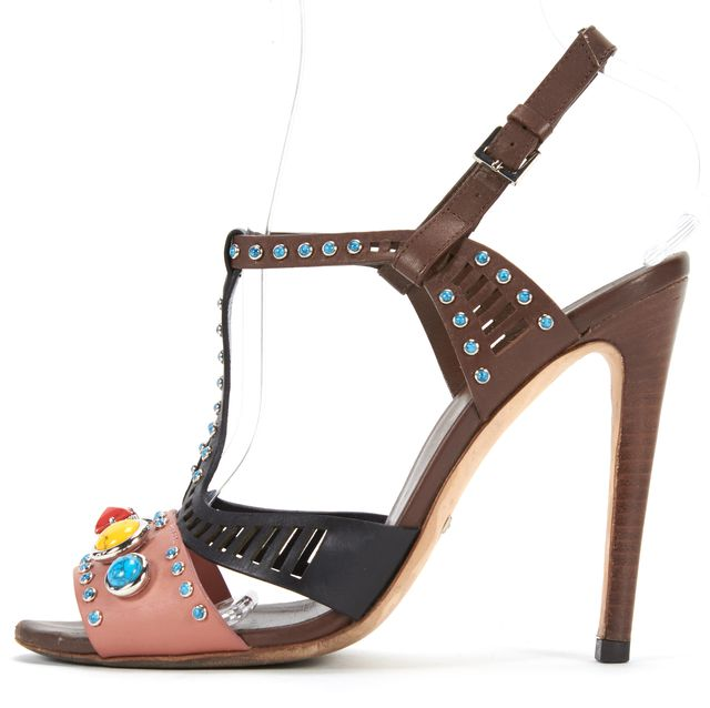 GUCCI Pink Black Multicolor Stone Embellished Heels