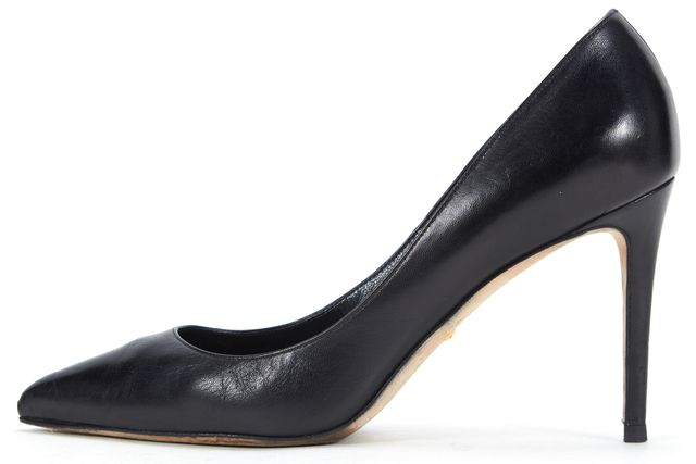 GUCCI Black Leather Pointed Toe Pump Heels