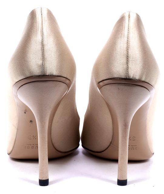 GUCCI Gold Satin Open Toe Embellishment Clasp Heels