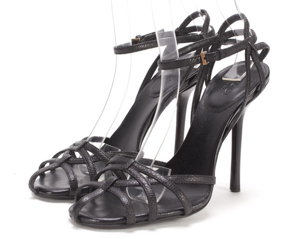 GUCCI Black Lizard Embossed Leather Caged Ankle Strappy Heels