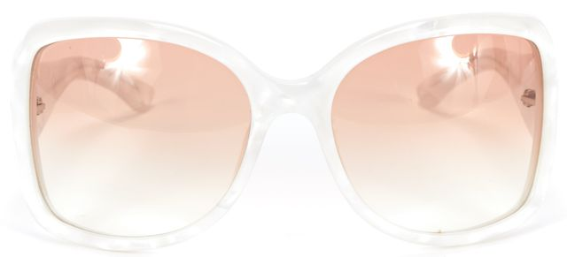 "GUCCI White Mother of Pearl ""2965/S"" Oversized GG Logo Square Sunglasses"