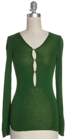 GUCCI Green Gold Button Mock Sweater