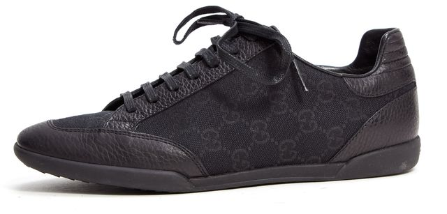 "GUCCI Black ""Georgia"" Leather GG Monogram Sneaker"