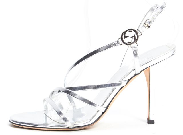 GUCCI Silver Metallic Leather Open-toe Slingback Strappy Heels