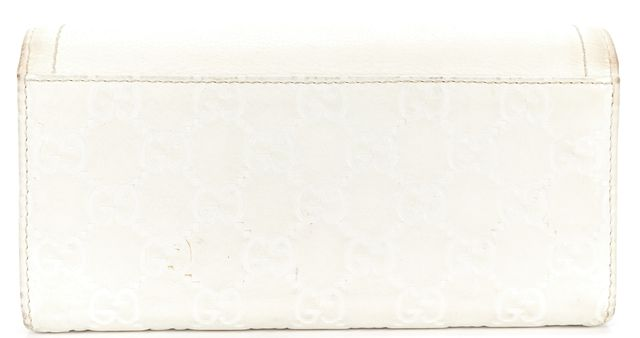 GUCCI White GG Monogram Guccissima Leather Horsebit Detail Continental Wallet