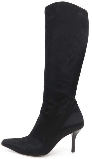GUCCI Black Satin Squared Pointed Toe Knee High Boots