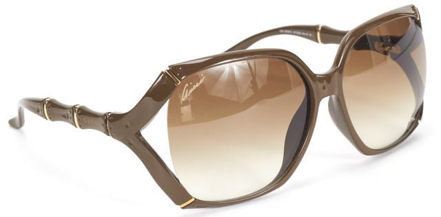 GUCCI Brown Bamboo Frame Square Sunglasses