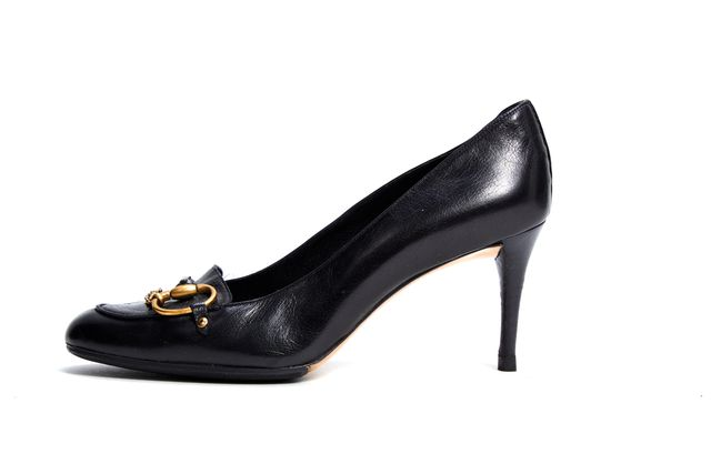 GUCCI Black Leather Loafer Pump Heels