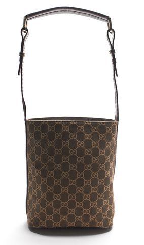 GUCCI Authentic Brown GG Monogram Canvas Shoulder bag