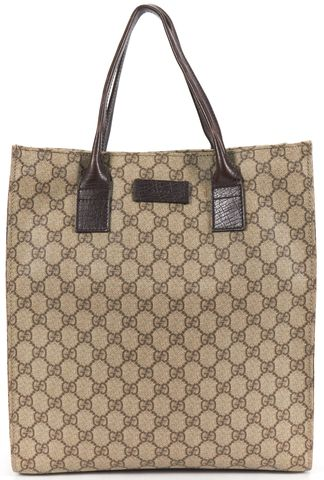 GUCCI Authentic Brown GG Monogram Coated Canvas Tote