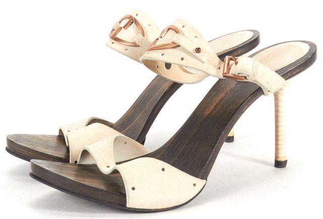 GUCCI Ivory Suede Wood Sole Stacked Heel Sandal