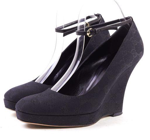 GUCCI Black Canvas GG Monogram Ankle Strap Wedge Heels