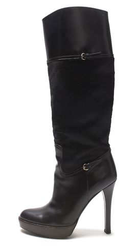 GUCCI Black Leather Calf Hair Wooden Heel Tall Boot Size 8.5