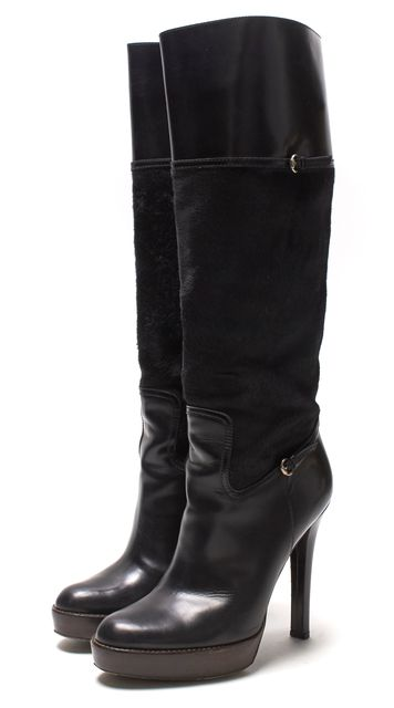 GUCCI Black Leather Calf Hair Wooden Heel Tall Boot