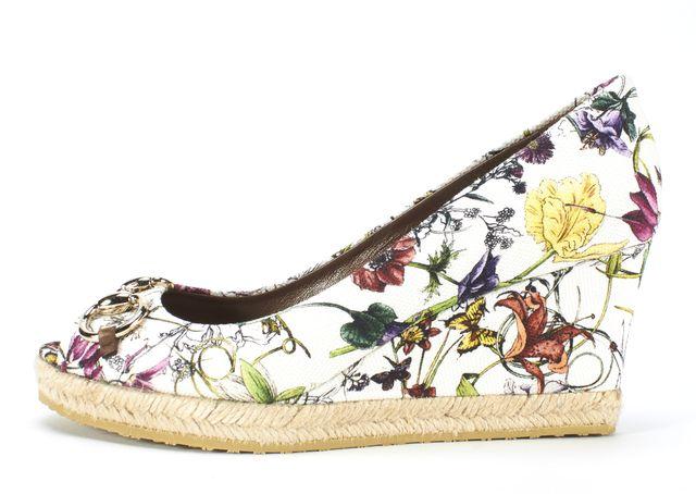GUCCI White Flora Horsebit Embellished Canvas Charlotte Wedges Size 37
