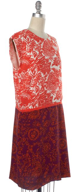 GUCCI Orange Purple White Multi Color Print Silk Shift Dress