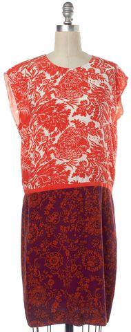 GUCCI Orange Purple White Multi Color Print Silk Shift Dress