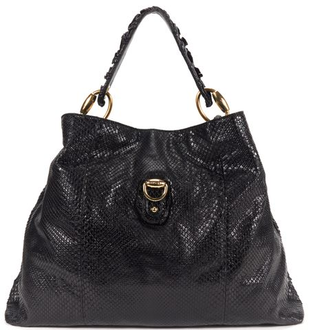 GUCCI Black Snakeskin Leather Hobo Shoulder Bag
