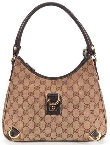 GUCCI Authentic Brown Monogram GG Canvas Hobo Bag