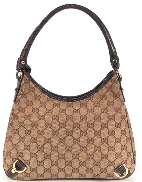 GUCCI Brown Monogram GG Canvas Hobo Bag