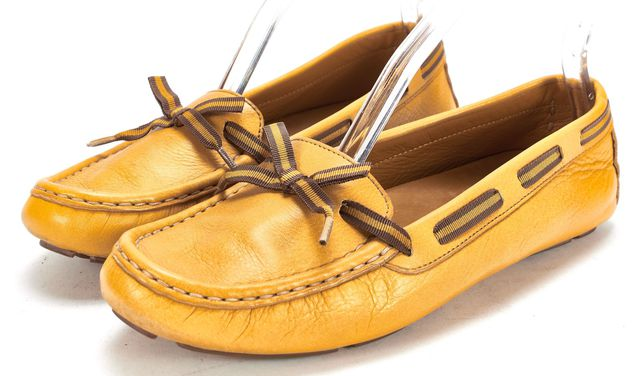 GUCCI Mustard Yellow Leather Driving Moccasins