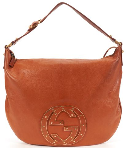 GUCCI Cognac Brown Leather GG Logo Blondie Hobo Shoulder Bag