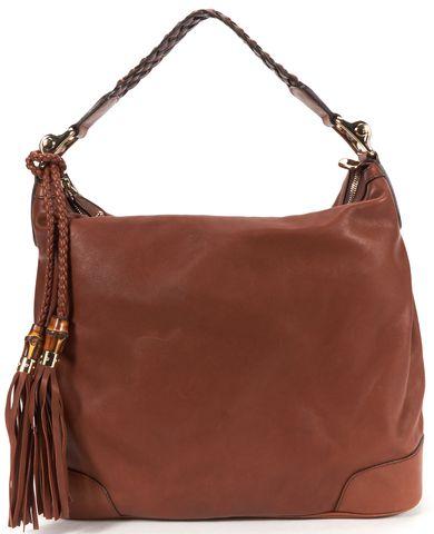 GUCCI Authentic Brown Leather Eva Fringe Detail Hobo Shoulder Bag