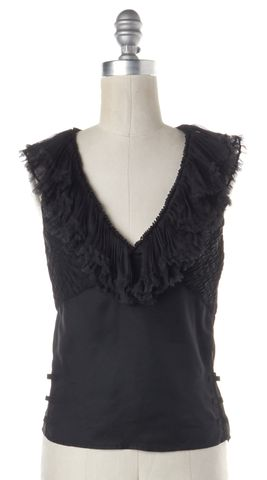 GUCCI Black Sleeveless Racerback Ruffled V Neck Blouse