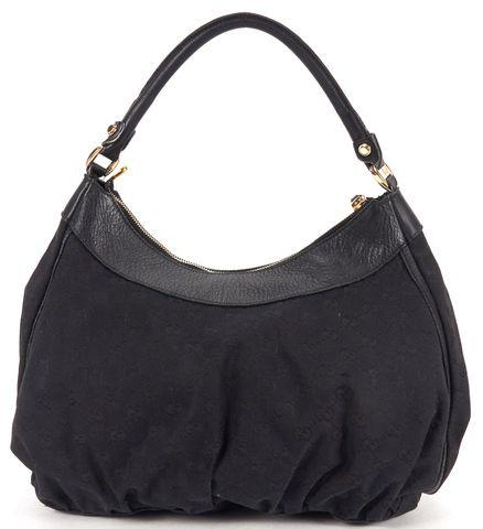GUCCI Black GG Canvas D Ring Hobo Bag