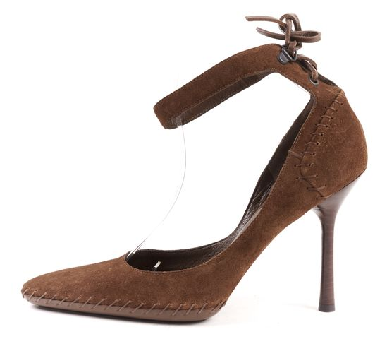 GUCCI Brown Suede Pointed-Toe Ankle Strap Pump Heels