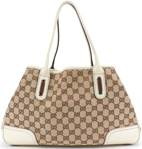 GUCCI Beige White GG Monogram Canvas Leather Pudding Tote Shoulder Bag