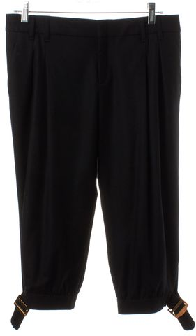 GUCCI Black Wool Cropped Pleated Trousers Pants