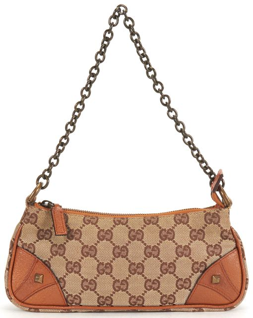 GUCCI Brown GG Monogram Canvas Leather Accents Chain Strap Shoulder Bag