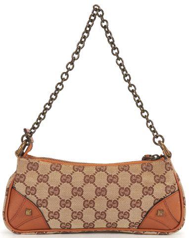 GUCCI Brown GG Monogram Canvas Leather Accents Chain Strap Shoulder Bag