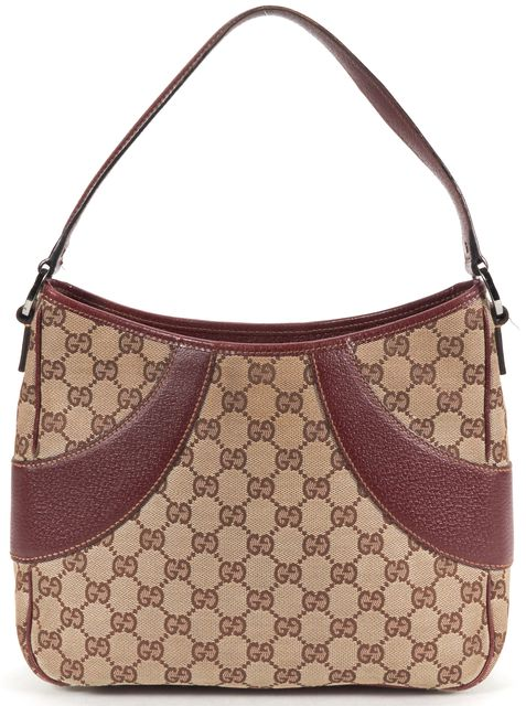 GUCCI Brown GG Monogram Canvas Leather Shoulder Bag