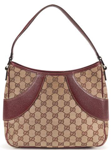 GUCCI Brown GG Monogram Canvas Leather Shoulder Bag