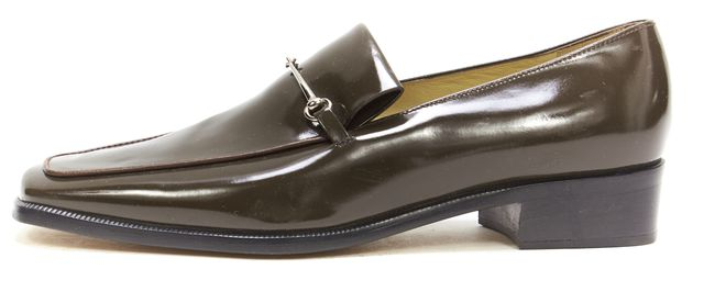 GUCCI Brown Patent Leather Classic Horse Bit Loafers
