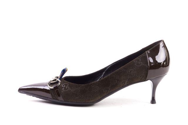 GUCCI Brown GG Embossed Suede Horsebit Detail Pointed Toe Kitten Heels