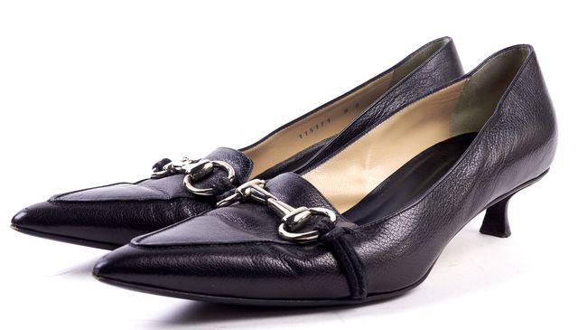 GUCCI Black Leather Horsebit Pointed Toe Low Heel Pumps