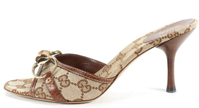 GUCCI Brown Beige Monogram Canvas Bamboo Detail Opened Toe Mules