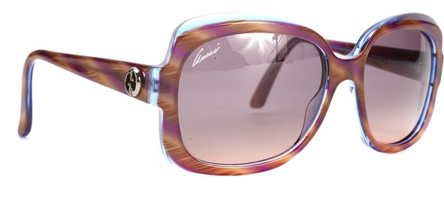 GUCCI Brown Blue Tortoise Acetate Frame Square Sunglasses