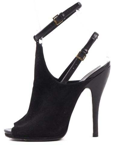 GUCCI Black Suede Double Ankle Strap Open Toe Heels