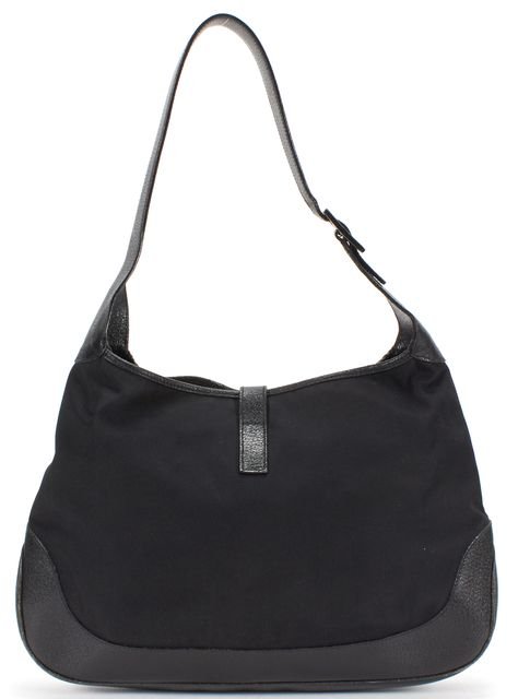 GUCCI Black Canvas Leather Jackie Hobo Shoulder Bag