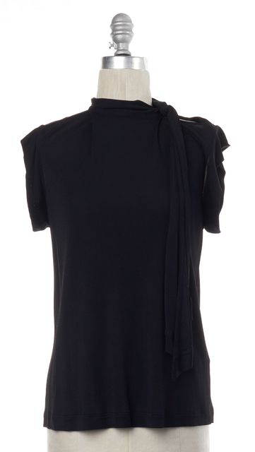 GUCCI Black Tie Neck Blouse