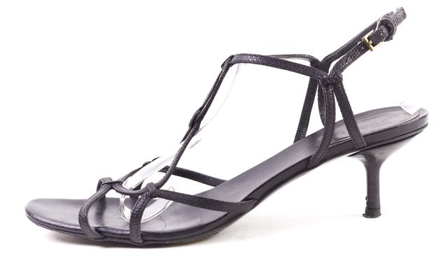 GUCCI Black Leather Kitten Heel Strappy Sandals